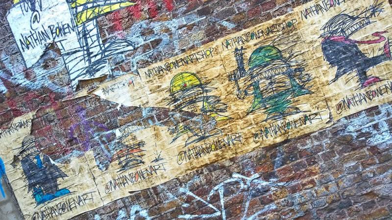Street Art, Nathan Bowen – demon builder pasteups